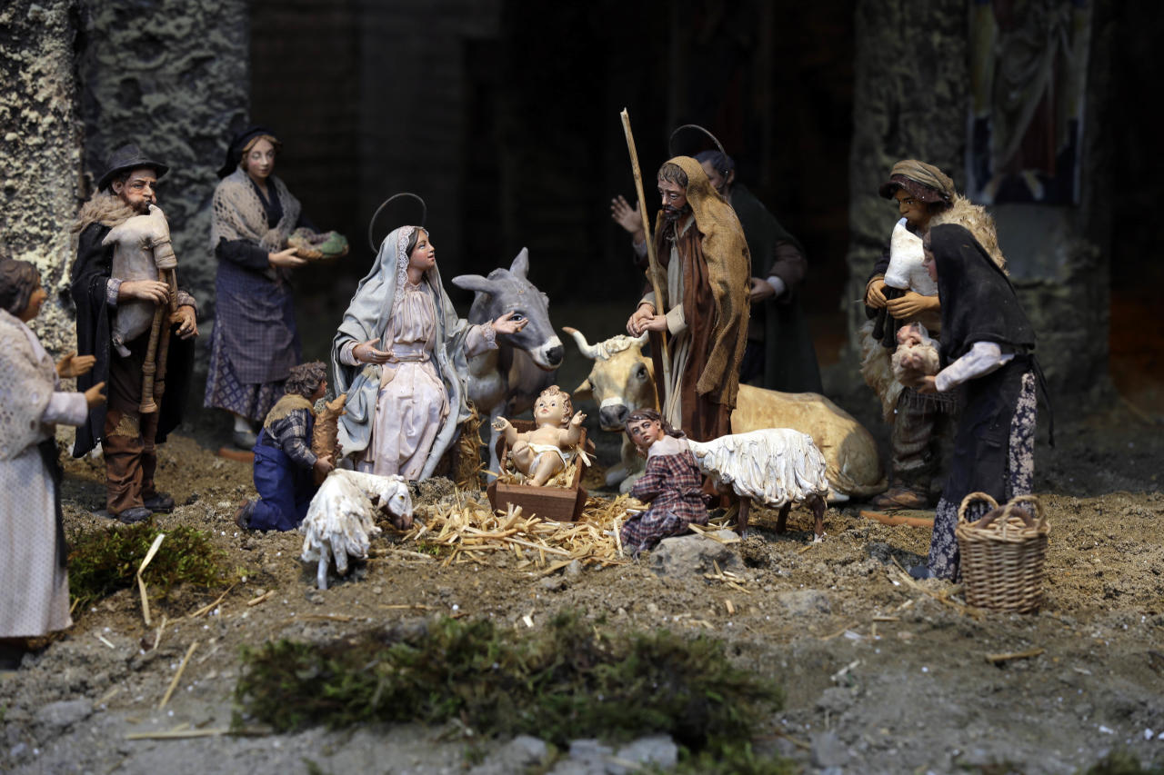 In this photo taken on Friday, Dec. 21, 2012 the Nativity Scene set up in St. Peter's Square at the Vatican that will be unveiled by Pope Benedict XVI Monday, Dec. 24. (AP Photo/Gregorio Borgia)