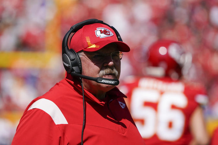 Kansas City Chiefs head coach Andy Reid watches during the first half of an NFL football game against the Los Angeles Chargers, Sunday, Sept. 26, 2021, in Kansas City, Mo. (AP Photo/Ed Zurga)