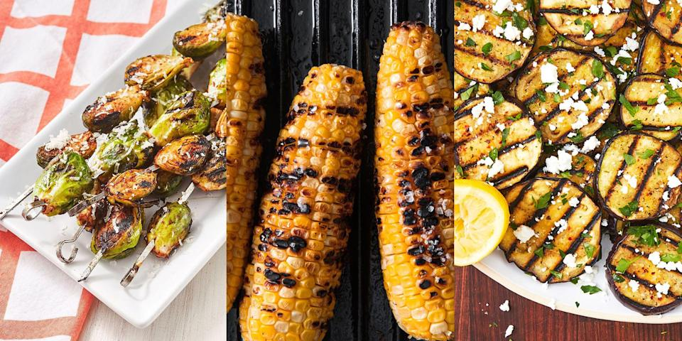 """<p>Grilled vegetables are a summer MUST. They go perfectly with most main meals, especially with a smashing <a href=""""https://www.delish.com/uk/cooking/recipes/g32388577/bbq-recipes/"""" rel=""""nofollow noopener"""" target=""""_blank"""" data-ylk=""""slk:BBQ"""" class=""""link rapid-noclick-resp"""">BBQ</a> (we're obsessed with <a href=""""https://www.delish.com/uk/cooking/recipes/a30712393/best-grilled-corn-on-the-cob-recipe/"""" rel=""""nofollow noopener"""" target=""""_blank"""" data-ylk=""""slk:Grilled Corn on The Cob"""" class=""""link rapid-noclick-resp"""">Grilled Corn on The Cob</a>). Plus, they couldn't be any easier to make, it's literally just grilling! (And obvs some seasoning, don't forget the seasoning). Whether it's <a href=""""https://www.delish.com/uk/cooking/recipes/a31109622/grilled-zucchini-recipe/"""" rel=""""nofollow noopener"""" target=""""_blank"""" data-ylk=""""slk:Grilled Courgette"""" class=""""link rapid-noclick-resp"""">Grilled Courgette</a>, <a href=""""https://www.delish.com/uk/cooking/recipes/a32399266/grilled-broccoli-recipe/"""" rel=""""nofollow noopener"""" target=""""_blank"""" data-ylk=""""slk:Grilled Broccoli"""" class=""""link rapid-noclick-resp"""">Grilled Broccoli</a> or <a href=""""https://www.delish.com/uk/cooking/recipes/a33319464/zucchini-cauliflower-skewers-feta-recipe/"""" rel=""""nofollow noopener"""" target=""""_blank"""" data-ylk=""""slk:Grilled Courgette and Cauliflower Skewers with Feta"""" class=""""link rapid-noclick-resp"""">Grilled Courgette and Cauliflower Skewers with Feta</a>, we've got plenty of delicious grilled vegetable recipes for you to try. </p>"""