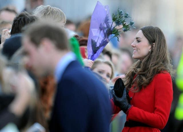 William and Kate did a walkabout on the streets they frequented as students on their return visit (Owen Humphreys/PA)