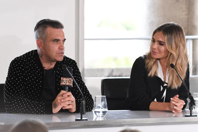 Robbie and Ayda at Tuesday's press conference