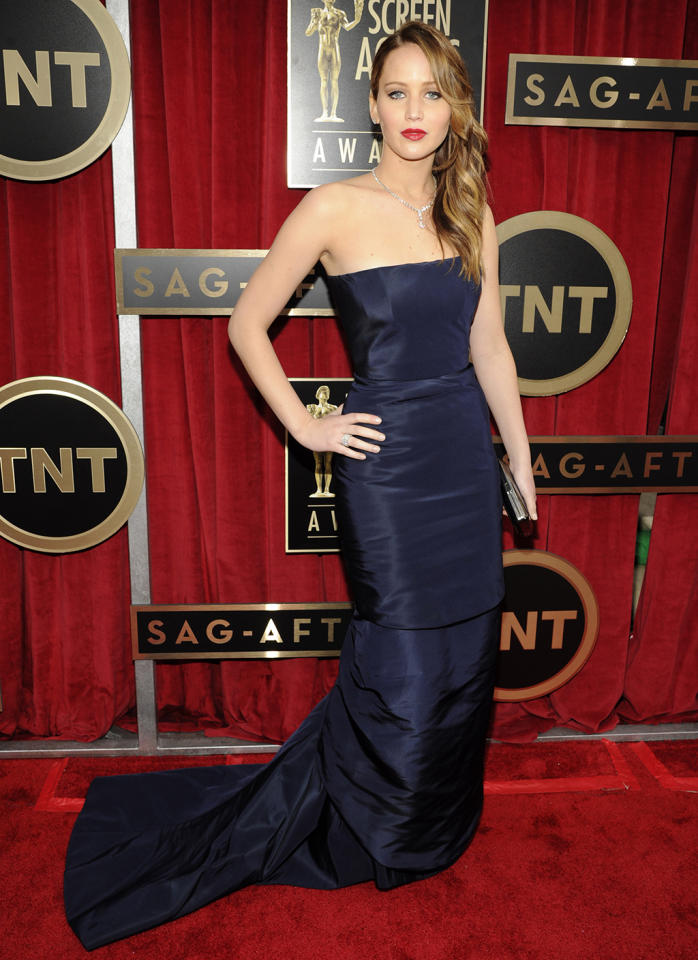 Jennifer Lawrence arrives at the 19th Annual Screen Actors Guild Awards at the Shrine Auditorium in Los Angeles, CA on January 27, 2013.