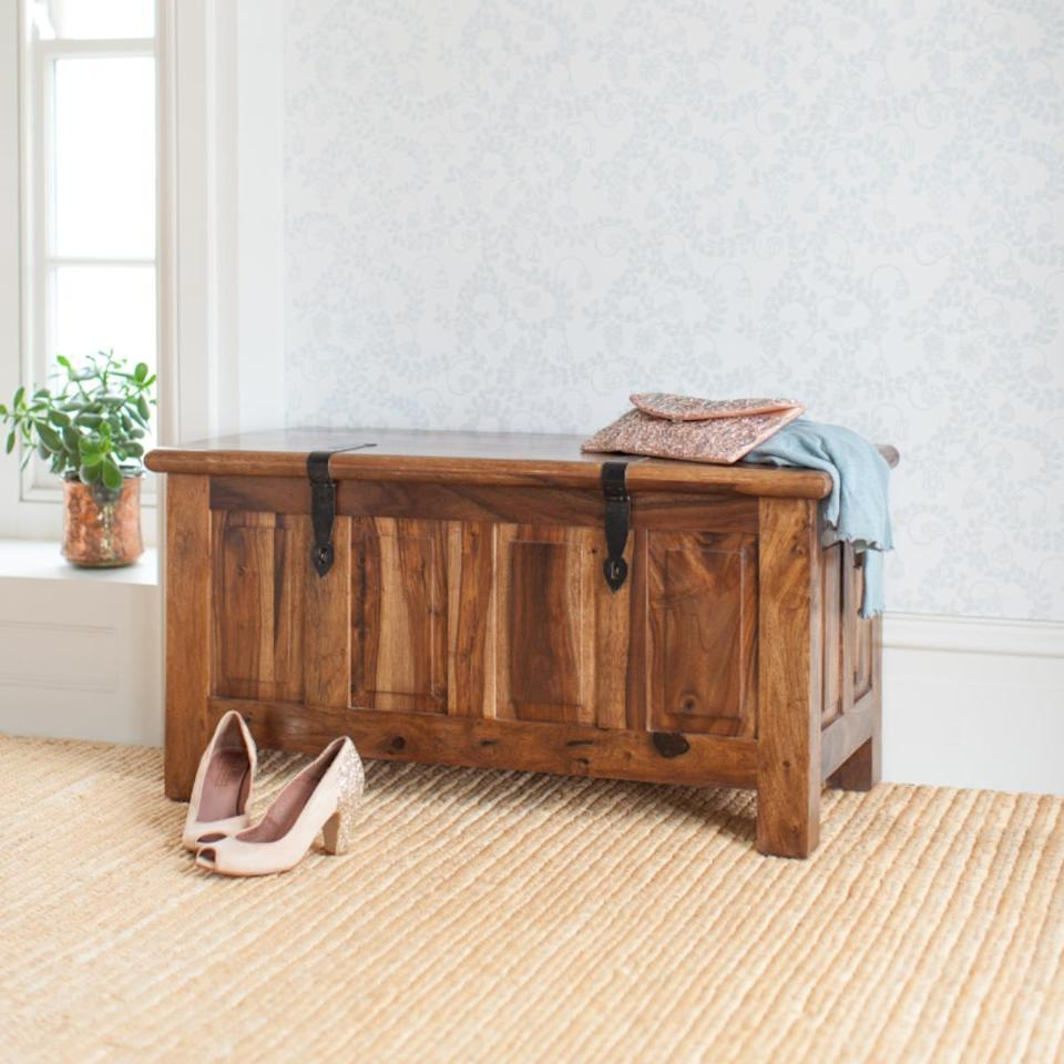 """Myakka makes high quality, fair trade solid wood furniture from Indian and Thai wood in a range of modern, handmade designs. These pieces are built. To. Last!<br><br><strong><a href=""""https://myakka.co.uk/"""" rel=""""nofollow noopener"""" target=""""_blank"""" data-ylk=""""slk:Myakka"""" class=""""link rapid-noclick-resp"""">Myakka</a></strong><br><br><strong>Myakka</strong> Mallani Blanket Box, $, available at <a href=""""https://myakka.co.uk/collections/furniture-2021/products/mallani-blanket-box"""" rel=""""nofollow noopener"""" target=""""_blank"""" data-ylk=""""slk:Myakka"""" class=""""link rapid-noclick-resp"""">Myakka</a>"""