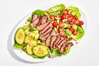"Crusty, juicy sliced steak + a fully-loaded salad = what we want to eat most nights of the week, TBH. If searing a steak to perfect medium-rare makes you nervous, we get it! It takes practice, and even seasoned cooks can have a hard time divining the doneness of meat. Our advice? Invest in a decent quality <a href=""https://www.thermoworks.com/ThermoPop"" rel=""nofollow noopener"" target=""_blank"" data-ylk=""slk:instant-read thermometer"" class=""link rapid-noclick-resp"">instant-read thermometer</a> to help take the guesswork out of the equation. As for that zippy shallot vinaigrette, do yourself a favor and make a double batch—it'll keep for a week, and is a great dressing for simple salads, grain bowls, and all kinds of cooked meats. This recipe is a part of the <a href=""https://www.bonappetit.com/collection/basically-10x10?mbid=synd_yahoo_rss"" rel=""nofollow noopener"" target=""_blank"" data-ylk=""slk:Basically 10x10"" class=""link rapid-noclick-resp"">Basically 10x10</a>, a collection of ten essential, no-fail recipes that every home cook should have in their arsenal. <a href=""https://www.bonappetit.com/recipe/steak-salad-with-shallot-vinaigrette?mbid=synd_yahoo_rss"" rel=""nofollow noopener"" target=""_blank"" data-ylk=""slk:See recipe."" class=""link rapid-noclick-resp"">See recipe.</a>"