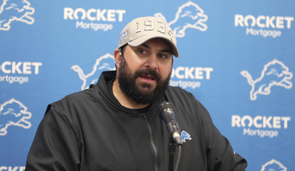 Detroit Lions coach Matt Patricia speaks during a news conference after the team's NFL preseason football game against the Cleveland Browns, Thursday, Aug. 29, 2019, in Cleveland. The Browns won 20-16. (AP Photo/Ron Schwane)