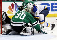 St. Louis Blues' Sammy Blais (9) is unable to score past past Dallas Stars goaltender Ben Bishop (30) during the second period in Game 6 of an NHL second-round hockey playoff series, Sunday, May 5, 2019, in Dallas. (AP Photo/Tony Gutierrez)