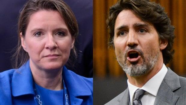 Right: Prime Minister Justin Trudeau. Left: Trudeau's Chief of Staff Katie Telford. (Sean Kilpatrick/The Canadian Press - image credit)
