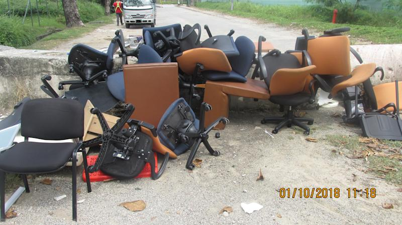 The illegally dumped furniture spotted along Jalan Terusan by NEA officers. (PHOTO: National Environment Agency)