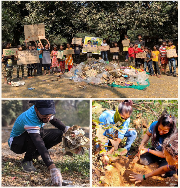 Volunteers at Aarey's plantation and clean-up drives.