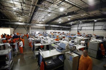 Prisoners at the Richard J. Donovan Correctional Facility in San Diego, California are seen housed in a gymnasium due to overcrowding in this September 14, 2009 file photo