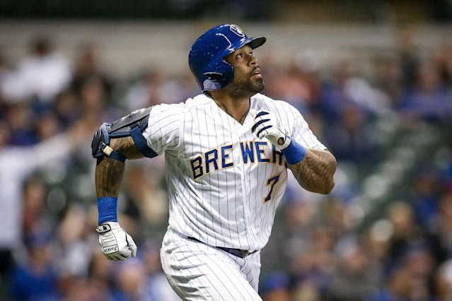 "In choppy playing time this season, <a class=""link rapid-noclick-resp"" href=""/mlb/players/8930/"" data-ylk=""slk:Eric Thames"">Eric Thames</a> is 4-for-22 in the <a class=""link rapid-noclick-resp"" href=""/mlb/teams/milwaukee/"" data-ylk=""slk:Brewers"">Brewers</a>' first 13 games, including two three-run homers against the <a class=""link rapid-noclick-resp"" href=""/mlb/teams/chi-cubs/"" data-ylk=""slk:Chicago Cubs"">Chicago Cubs</a>. (Getty Images)"