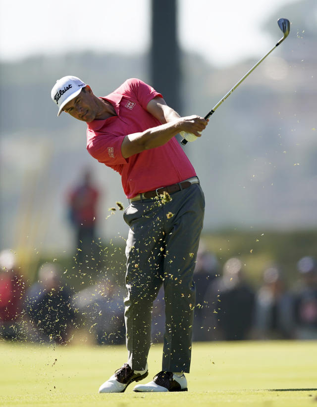 Adam Scott, of Australia, hits his third shot on the 11th hole during the final round of the Genesis Invitational golf tournament at Riviera Country Club, Sunday, Feb. 16, 2020, in the Pacific Palisades area of Los Angeles. (AP Photo/Ryan Kang)