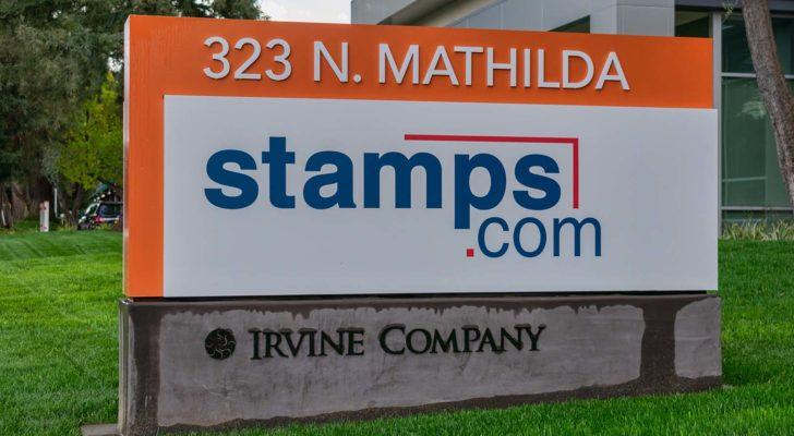 the stamps.com (STMP) logo on a sign outside of a corporate building