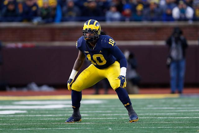 Michigan linebacker Devin Bush plays against Indiana. (AP Photo)
