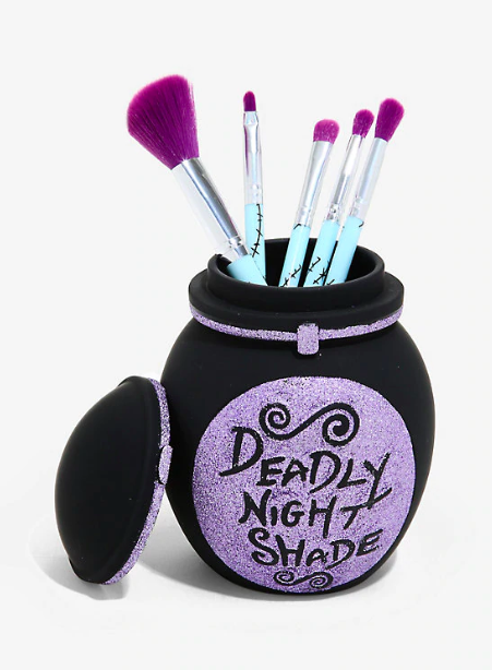 """$29.9, Hot Topic. <a href=""""https://www.hottopic.com/product/loungefly-the-nightmare-before-christmas-deadly-nightshade-makeup-brush-set-holder/11899999.html?cgid=accessories-beauty#start=23"""">Get it now!</a>"""
