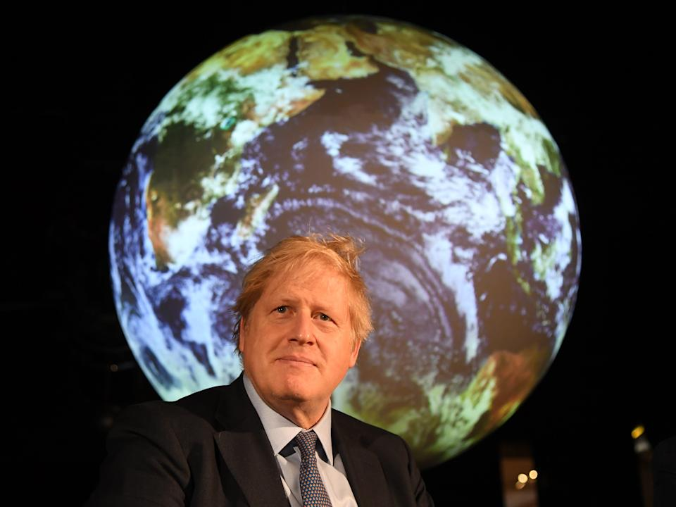 LONDON, ENGLAND - FEBRUARY 04:  Prime minister Boris Johnson attends the launch of the UK-hosted COP26 UN Climate Summit, being held in partnership with Italy this autumn in Glasgow, at the Science Museum on February 4, 2020 in London, England. Johnson will reiterate the government's commitment to net zero by the 2050 target and call for international action to achieve global net zero emissions. The PM is also expected to announce plans to bring forward the current target date for ending new petrol and diesel vehicle sales in the UK from 2040 to 2035, including hybrid vehicles for the first time. (Photo by Jeremy Selwyn - WPA Pool/Getty Images)