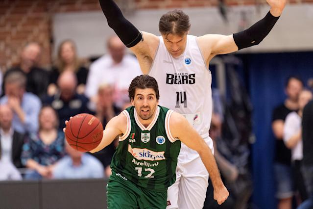 Basketball - FIBA Europe Cup - Bakken Bears vs Sidigas Scandone Avellino - Aarhus, Denmark - April 18, 2018 - Sidigas Scandone Avellino's player Ariel Filloy in action with Bakken Bears's Chris Christoffersen during the basketball semifinal. Scanpix Denmark/via REUTERS ATTENTION EDITORS - THIS IMAGE WAS PROVIDED BY A THIRD PARTY. DENMARK OUT. NO COMMERCIAL OR EDITORIAL SALES IN DENMARK