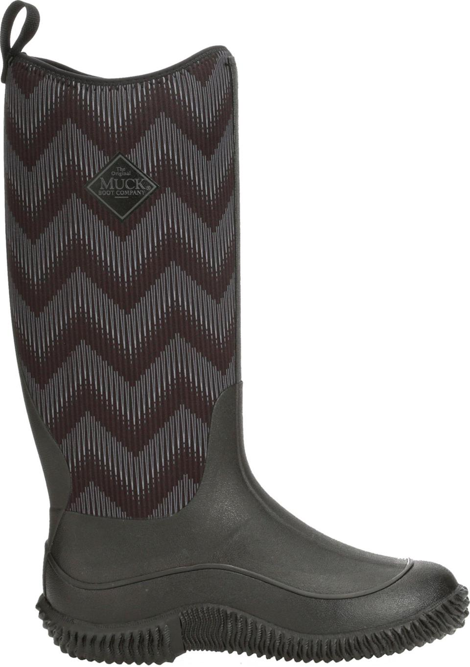 """<p><strong>Muck Boots</strong></p><p>dickssportinggoods.com</p><p><strong>$119.99</strong></p><p><a href=""""https://go.redirectingat.com?id=74968X1596630&url=https%3A%2F%2Fwww.dickssportinggoods.com%2Fp%2Fmuck-boots-womens-hale-chevron-waterproof-boots-19mbowwhlblckchvrfbo%2F19mbowwhlblckchvrfbo&sref=https%3A%2F%2Fwww.thepioneerwoman.com%2Ffashion-style%2Fg34010656%2Fbest-muck-boots-for-women%2F"""" rel=""""nofollow noopener"""" target=""""_blank"""" data-ylk=""""slk:Shop Now"""" class=""""link rapid-noclick-resp"""">Shop Now</a></p><p>Work boots don't need to be plain. You'll love these chevron-pattered tall Muck Boots if you're looking for true workhorse boots with a little flair. </p>"""