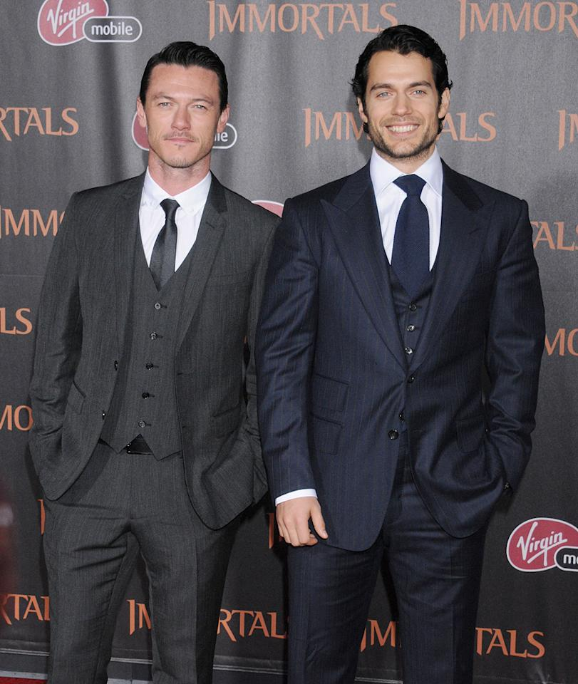 """<a href=""""http://movies.yahoo.com/movie/contributor/1808847449"""">Luke Evans</a> and <a href=""""http://movies.yahoo.com/movie/contributor/1807784225"""">Henry Cavill</a> at the Los Angeles premiere of <a href=""""http://movies.yahoo.com/movie/1810150710/info"""">Immortals</a> on November 7, 2011."""