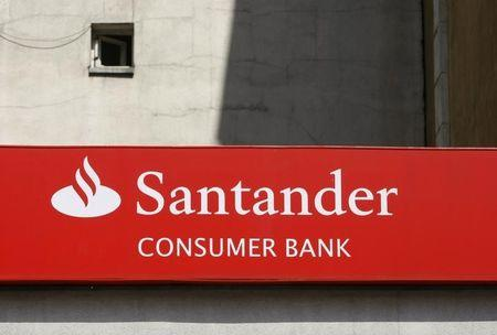 A Santander logo is seen at a branch of Spain's largest bank in Warsaw