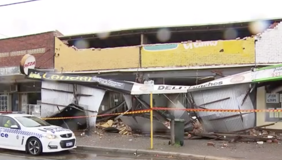 Shop fronts were torn down in the Perth suburb of Bedford. Source: 7News