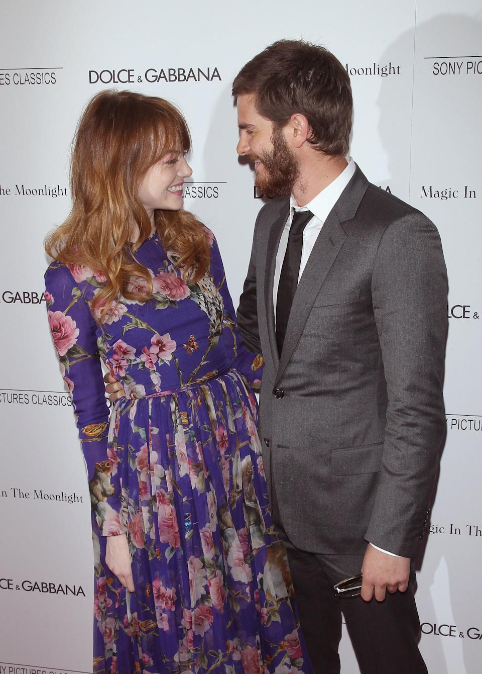 """<p><a href=""""http://www.popsugar.com/Emma-Stone"""" class=""""link rapid-noclick-resp"""" rel=""""nofollow noopener"""" target=""""_blank"""" data-ylk=""""slk:Emma"""">Emma</a> and <a href=""""http://www.popsugar.com/Andrew-Garfield"""" class=""""link rapid-noclick-resp"""" rel=""""nofollow noopener"""" target=""""_blank"""" data-ylk=""""slk:Andrew"""">Andrew</a> <a href=""""https://www.popsugar.com/celebrity/Andrew-Garfield-Emma-Stone-Cutest-Pictures-31160469"""" class=""""link rapid-noclick-resp"""" rel=""""nofollow noopener"""" target=""""_blank"""" data-ylk=""""slk:shared many cute moments"""">shared many cute moments</a> throughout their four-year relationship, and we're still bummed about their 2015 breakup.</p> <p>The pair met on the set of Marc Webb's <strong>The Amazing Spider-Man</strong>, where Andrew played Spider-Man and Emma played Gwen Stacy, and they started dating in 2011. On the filming experience, Andrew told <strong>MTV News</strong>, """"<a href=""""http://www.mtv.com/news/1687160/spider-man-andrew-garfield-emma-stone/"""" class=""""link rapid-noclick-resp"""" rel=""""nofollow noopener"""" target=""""_blank"""" data-ylk=""""slk:We got on really well as people"""">We got on really well as people</a>, in between [takes]. That was the fun stuff: In between, we'd just mess around, and I felt, 'Ah, this is different.'"""" Emma echoed his sentiment, telling <strong>Teen Vogue</strong><strong>, </strong>""""Meeting Andrew, and <a href=""""http://www.teenvogue.com/gallery/emma-stone-andrew-garfield-teen-vogue-photos#2"""" class=""""link rapid-noclick-resp"""" rel=""""nofollow noopener"""" target=""""_blank"""" data-ylk=""""slk:working with Andrew ... was one of the greatest experiences"""">working with Andrew ... was one of the greatest experiences</a> I've ever had.""""<br><br>The two continued to date, giving the world <a href=""""https://www.popsugar.com/celebrity/Emma-Stone-Andrew-Garfield-Relationship-Details-43048344"""" class=""""link rapid-noclick-resp"""" rel=""""nofollow noopener"""" target=""""_blank"""" data-ylk=""""slk:small glimpses into their relationship"""">small glimpses into their relationship</a> with red carpet photo-o"""