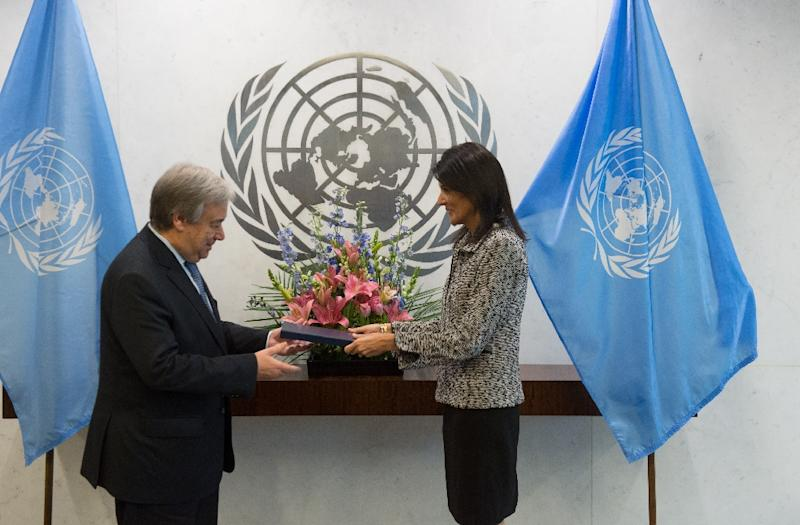 New US Ambassador to the United Nations Nikki Haley hands her credentials to UN Secretary-General Antonio Guterres