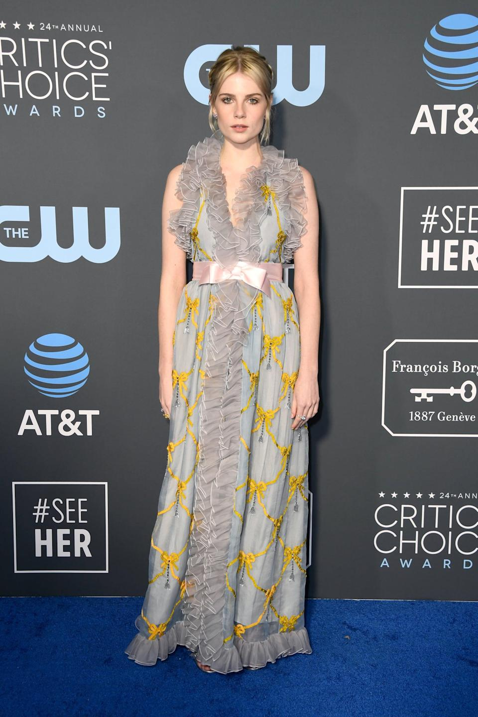 <p>Lucy Boynton wearing a floral Gucci gown.</p>