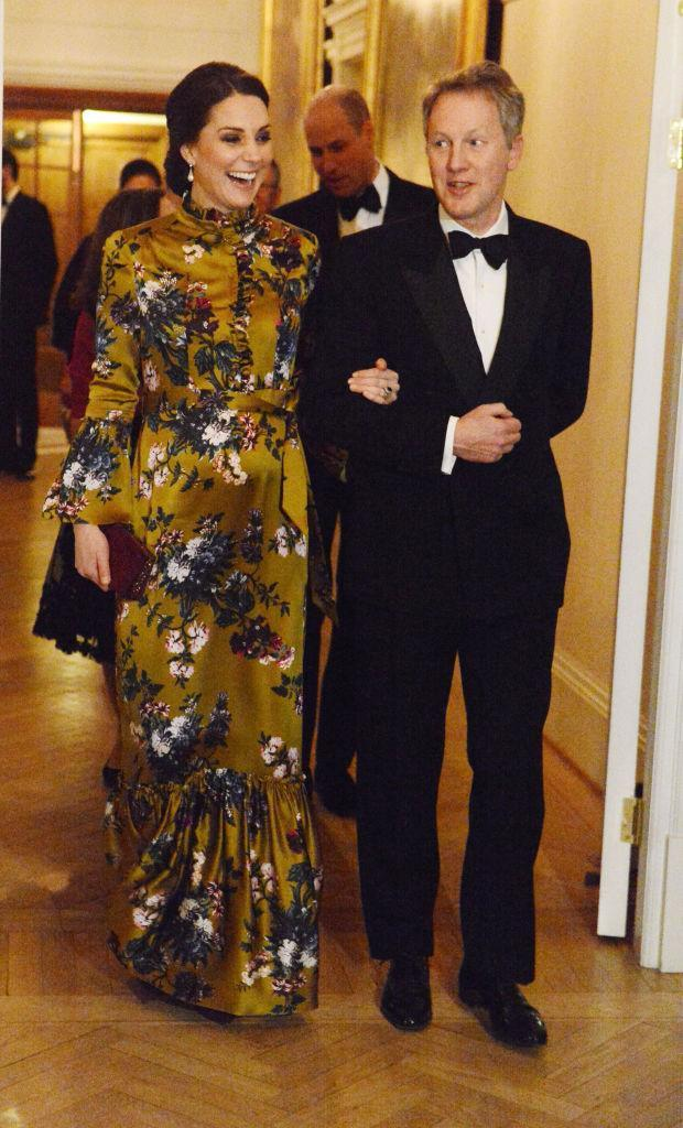 <p>For a formal dinner in Stockholm, the 36-year-old dressed her bump in a floral-emblazoned Erdem dress on January, 30. <em>[Photo: Getty]</em> </p>