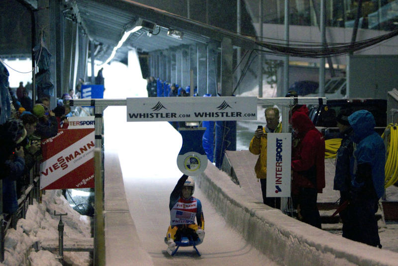 A member of team United States is seen hitting the pad during the team relay luge event at the Viessmann Luge World Cup at the Whistler Sliding Centre in Whistler, B.C., Saturday, Dec, 10, 2011.   THE CANADIAN PRESS/Jonathan Hayward