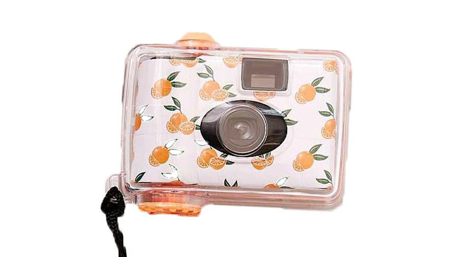 """<p>Save your smartphone's battery with an old-school camera. This one's waterproof, so it won't matter if you spill your drink, or drop it in the mud. Urban Outfitters Orange Underwater Disposable Camera, £16 from <a rel=""""nofollow noopener"""" href=""""https://www.urbanoutfitters.com/en-gb/shop/camunderwater-org?category=photography&color=000"""" target=""""_blank"""" data-ylk=""""slk:urbanoutfitters.com"""" class=""""link rapid-noclick-resp"""">urbanoutfitters.com</a> </p>"""