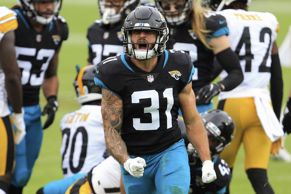 Jacksonville Jaguars running back Nathan Cottrell (31) reacts after making a tackle against the Pittsburgh Steelers during the first half of an NFL football game, Sunday, Nov. 22, 2020, in Jacksonville, Fla. (AP Photo/Matt Stamey)
