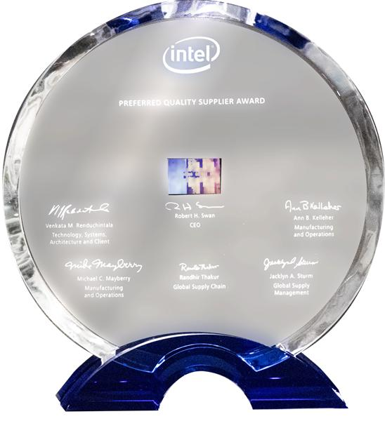 Intel 2018 Preferred Quality Supplier Award:Applied Materials, Inc. has been recognized by Intel as a recipient of a 2018 Preferred Quality Supplier (PQS) award. Intel and the Intel logo are trademarks of Intel Corporation in the United States and other countries.