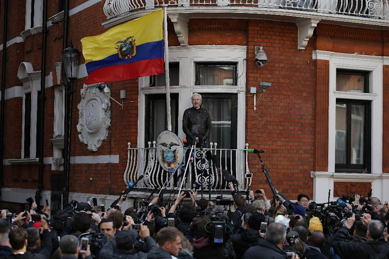 "Ecuador says Wikileaks founder Julian Assange, seen here speaking on the balcony of the Ecuadoran embassy in London on May 19, 2017, is in an ""untenable"" situation"