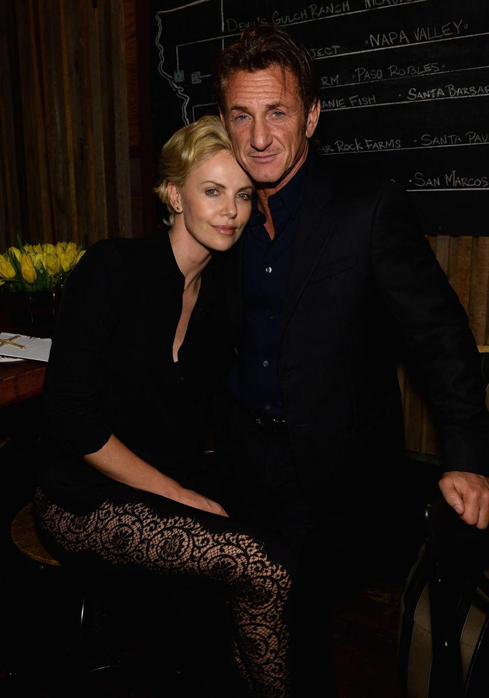 """<p>Theron starred in the Penn-directed movie <em>The Last Face</em>, and the two were even rumored to be engaged before the actress called it quits (allegedly by <a href=""""http://jezebel.com/charlize-theron-broke-up-with-sean-penn-by-ghosting-him-1712760688"""" rel=""""nofollow noopener"""" target=""""_blank"""" data-ylk=""""slk:&quot;ghosting&quot;"""" class=""""link rapid-noclick-resp"""">""""ghosting""""</a> him) in June 2015. One year later, they had to <a href=""""http://www.eonline.com/news/766623/charlize-theron-and-sean-penn-keep-their-distance-in-cannes-as-their-new-movie-gets-panned"""" rel=""""nofollow noopener"""" target=""""_blank"""" data-ylk=""""slk:reunite"""" class=""""link rapid-noclick-resp"""">reunite</a> while doing press for the film at the 2016 Cannes Film Festival.</p>"""