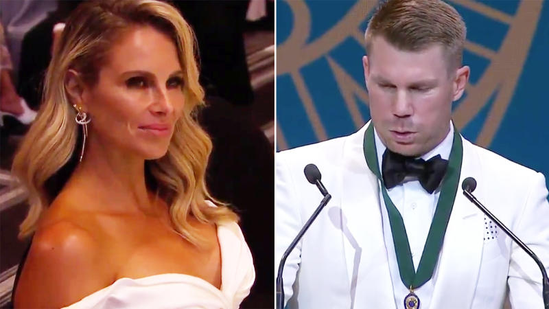 David Warner, pictured here breaking down after winning the Allan Border Medal.