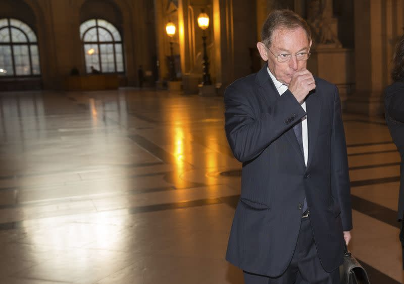 Former EADS co-chief executive Noel Forgeard arrives for the start of Airbus insider trading trial at Paris court