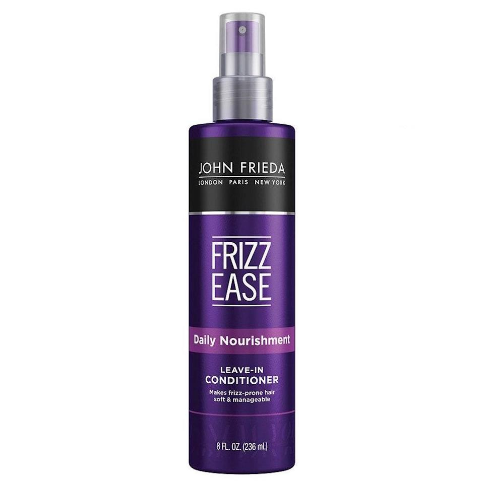 """The John Frieda Frizz Ease Daily Nourish <a href=""""https://www.allure.com/gallery/best-leave-in-hair-conditioners?mbid=synd_yahoo_rss"""" rel=""""nofollow noopener"""" target=""""_blank"""" data-ylk=""""slk:Leave-In Conditioner"""" class=""""link rapid-noclick-resp"""">Leave-In Conditioner</a> makes it incredibly convenient to nourish heat- and sun-damaged hair with a dose of vitamins A, C, and E. As it detangles, it deposits the moisture your hair needs to start shining again. $7, Amazon. <a href=""""https://www.amazon.com/John-Frieda-Nourishment-Leave-Conditioner/dp/B000GCWD6G"""" rel=""""nofollow noopener"""" target=""""_blank"""" data-ylk=""""slk:Get it now!"""" class=""""link rapid-noclick-resp"""">Get it now!</a>"""