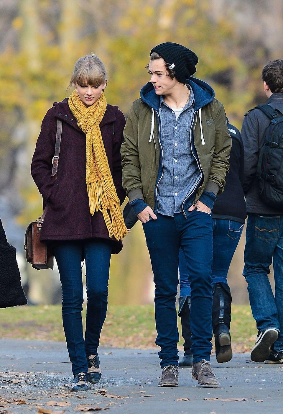 """<p>This fall 2012 date between Taylor Swift and Harry Styles will never go, well, out of """"Style."""" At least one can assume that this <em>isn't </em>the scarf <a href=""""https://www.elle.com/uk/fashion/news/a38578/maggie-gyllenhaal-talks-taylor-swift-scarf/"""" rel=""""nofollow noopener"""" target=""""_blank"""" data-ylk=""""slk:Swift left at Maggie Gyllenhaal's house..."""" class=""""link rapid-noclick-resp"""">Swift left at Maggie Gyllenhaal's house...</a> or her new <em>folklore</em>-era """"cardigan.""""</p>"""