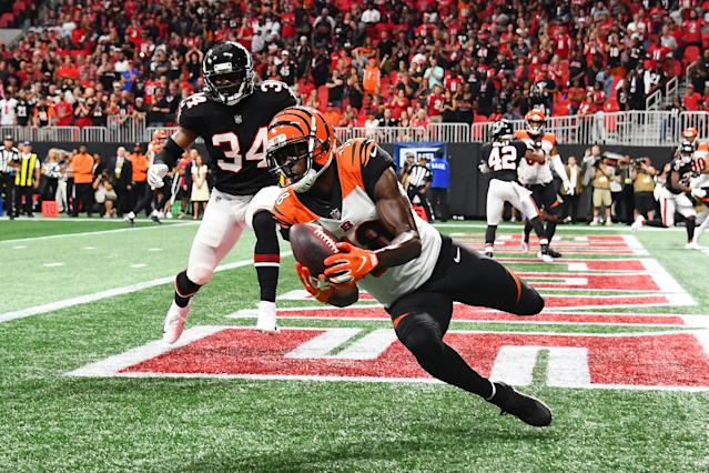 Bengals WR A.J. Green snuck through a soft zone in the final seconds to score a game-winning TD against the Falcons. (Getty)