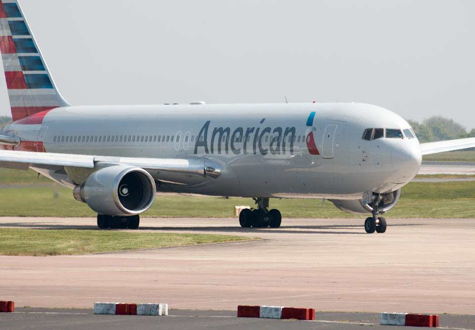 Manchester, United Kingdom - May 11, 2017: American Airlines Boeing 767-300 wide-body passenger plane (N379AA) taxiing on Manchester International Airport tarmac.
