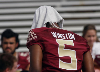 Jameis Winston was suspended for Florida State's narrow win over Clemson on Saturday. (AP)