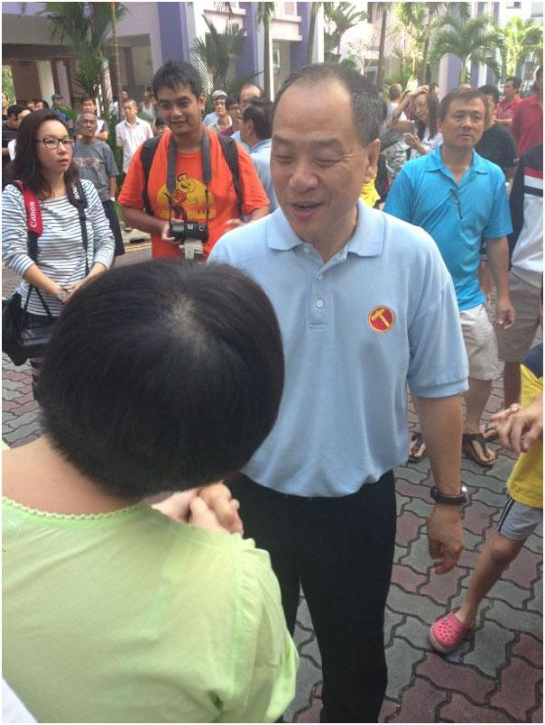 WP chief Low Thia Khiang now at the parade starting site.