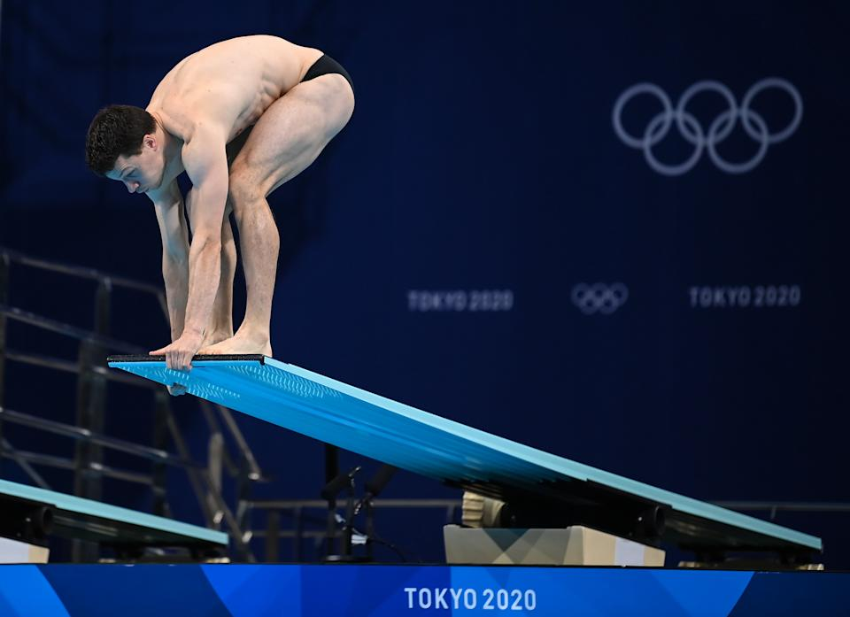 Tokyo , Japan - 2 August 2021; Patrick Hausding of Germany during the preliminary round of the men's 3m springboard at the Tokyo Aquatics Centre on day ten of the 2020 Tokyo Summer Olympic Games in Tokyo, Japan. (Photo By Stephen McCarthy/Sportsfile via Getty Images)
