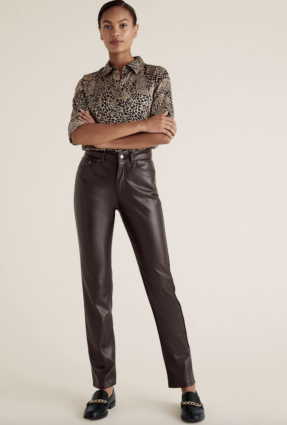 M&S Collection Sienna Faux Leather Straight Leg Trousers, $50.