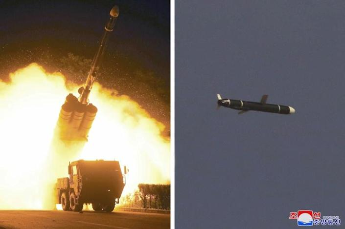 This undated combo picture released from North Korea's official Korean Central News Agency shows the test firing of a reported new type of long-range cruise missile (AFP/STR)