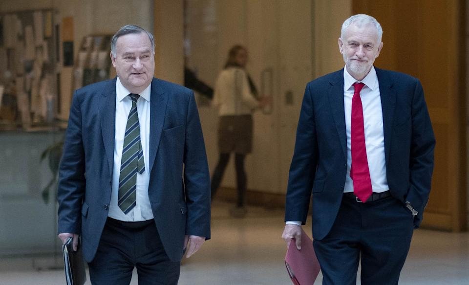 Jeremy Corbyn and the party's chief whip Nick Brown walk through Portcullis House in Westminster (Photo: PA Wire/PA Images)