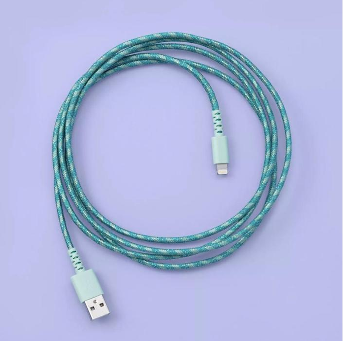 <p>Keep their devices charged and ready to go at all times with this <span>More than Magic Lightning to USB-A Round Braided Mint</span> ($13).</p>