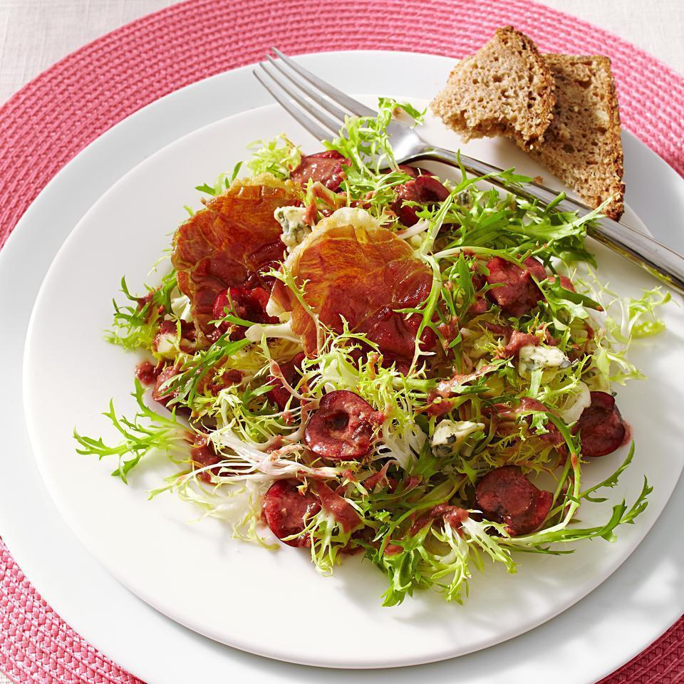 """<p>Sweet cherries, earthy blue cheese and salty prosciutto balance each bite in this healthy side salad recipe. If you can't find frisée, curly endive is a good alternative. <a href=""""http://www.eatingwell.com/recipe/250972/frisee-salad-with-cherries-blue-cheese/"""" rel=""""nofollow noopener"""" target=""""_blank"""" data-ylk=""""slk:View recipe"""" class=""""link rapid-noclick-resp""""> View recipe </a></p>"""