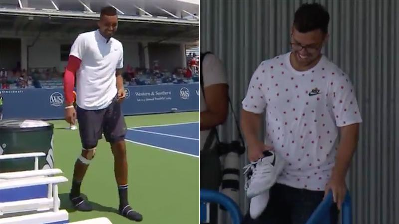 Nick Kyrgios forgets footwear before first-round win